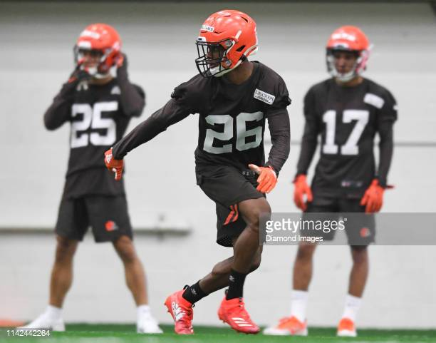 Cornerback Greedy Williams of the Cleveland Browns participates in a drill during a rookie mini camp on May 4 2019 at the Cleveland Browns training...