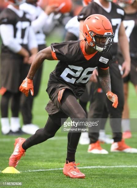 Cornerback Greedy Williams of the Cleveland Browns participates in a drill during an OTA practice on May 22 2019 at the Cleveland Browns training...