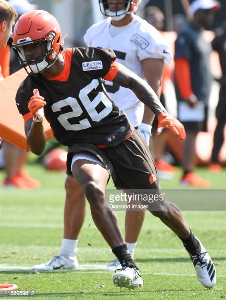 Cornerback Greedy Williams of the Cleveland Browns participates in a drill during a training camp practice on July 25 2019 at the Cleveland Browns...