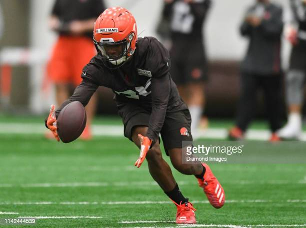 Cornerback Greedy Williams of the Cleveland Browns pursues the loose ball during a rookie mini camp on May 4 2019 at the Cleveland Browns training...