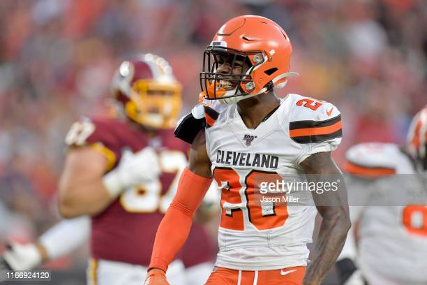 Cornerback Greedy Williams of the Cleveland Browns reacts after a tackle during the first half of a preseason game against the Washington Redskins at...