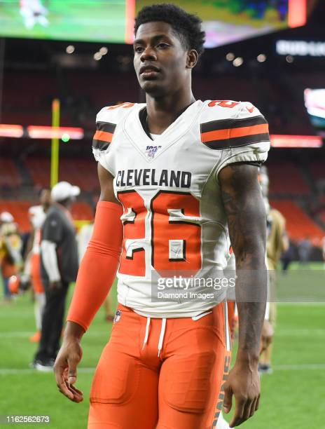 Cornerback Greedy Williams of the Cleveland Browns walks off the field after a preseason game against the Washington Redskins on August 8 2019 at...