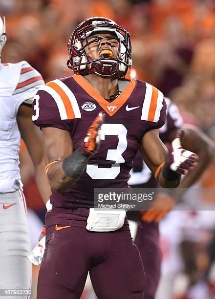Cornerback Greg Stroman of the Virginia Tech Hokies reacts against the Ohio State Buckeyes in the second half at Lane Stadium on September 7 2015 in...