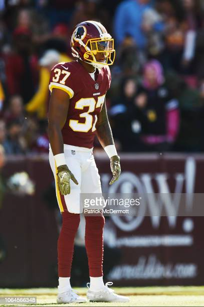 Cornerback Greg Stroman of the Washington Redskins in action in the first half against the Atlanta Falcons at FedExField on November 4 2018 in...