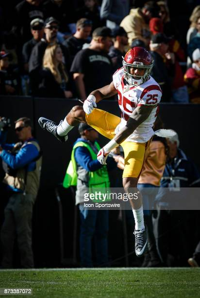 USC cornerback Jack Jones gets hyped up just before kickoff during the Colorado Buffalos game versus the USC Trojans on November 11 at Folsom Field...