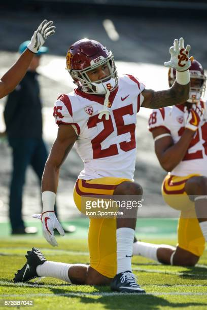USC cornerback Jack Jones stretches during warmups before the Colorado Buffalos game versus the USC Trojans on November 11 at Folsom Field in Boulder...