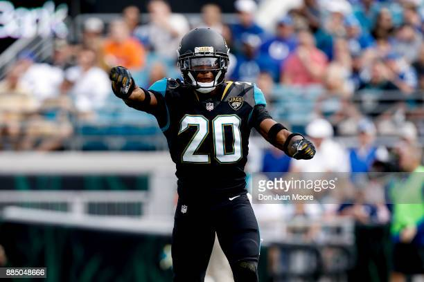 Cornerback Jalen Ramsey of the Jacksonville Jaguars celebrates after breaking up a pass play during the game against the Indianapolis Colts at...