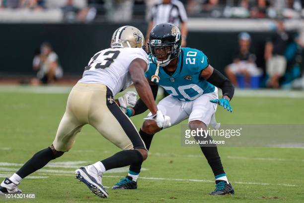 Cornerback Jalen Ramsey of the Jacksonville Jaguars defends Wide Receiver Michael Thomas of the New Orleans Saints during a preseason game at TIAA...