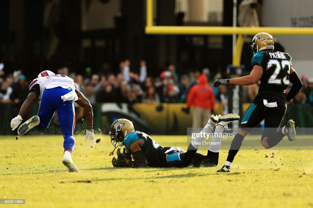 Cornerback Jalen Ramsey #20 of the Jacksonville Jaguars intercepts a pass late in the fourth quarter against the Buffalo Bills during the AFC Wild Card Playoff game at EverBank Field on January 7, 2018 in Jacksonville, Florida.