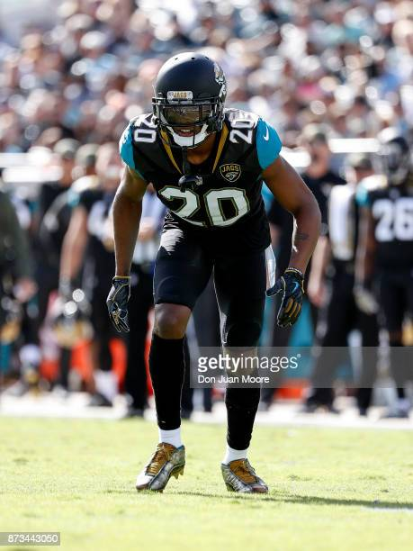 Cornerback Jalen Ramsey of the Jacksonville Jaguars lineup during the game against the Los Angeles Chargers at EverBank Field on November 12 2017 in...