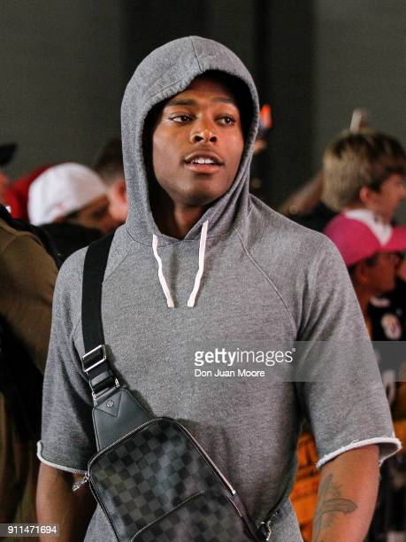 Cornerback Jalen Ramsey of the Jacksonville Jaguars of the AFC Team as he arrives to the NFL Pro Bowl Game at Camping World Stadium on January 28...