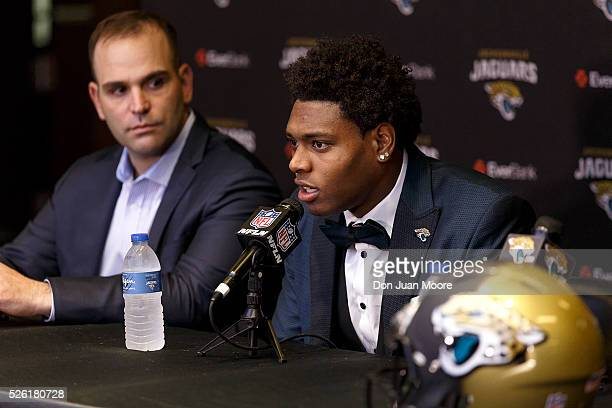 Cornerback Jalen Ramsey of the Jacksonville Jaguars speaking to the media for the first time as General Manager Dave Caldwell looks on at EverBank...