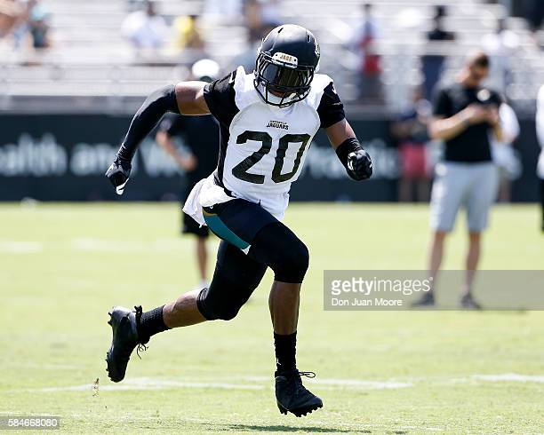 Cornerback Jalen Ramsey of the Jacksonville Jaguars works out during Training Camp at Florida Blue Health and Wellness Practice Fields on July 29...