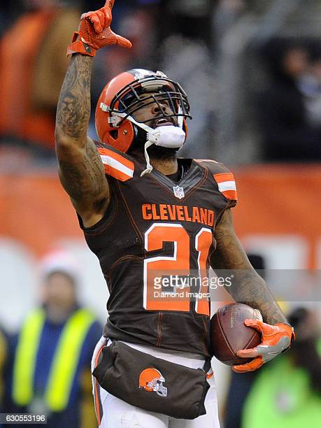 Cornerback Jamar Taylor of the Cleveland Browns celebrates after intercepting a pass during a game against the San Diego Chargers on December 24,...
