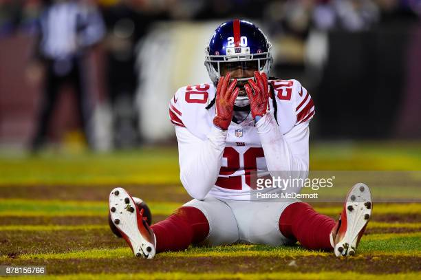 Cornerback Janoris Jenkins of the New York Giants reacts after a play in the second quarter against the Washington Redskins at FedExField on November...