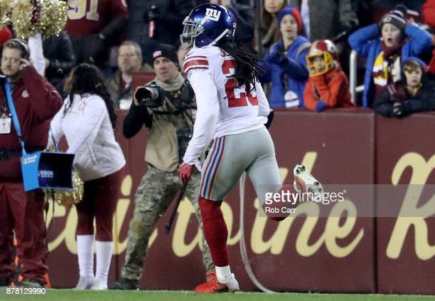 Cornerback Janoris Jenkins of the New York Giants returns an interception for a third quarter touchdown against the Washington Redskins at FedExField...