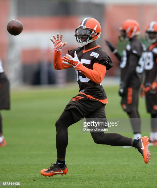 Cornerback Jason McCourty of the Cleveland Browns catches a pass during the first OTA practice on May 24 2017 at the Cleveland Browns training...