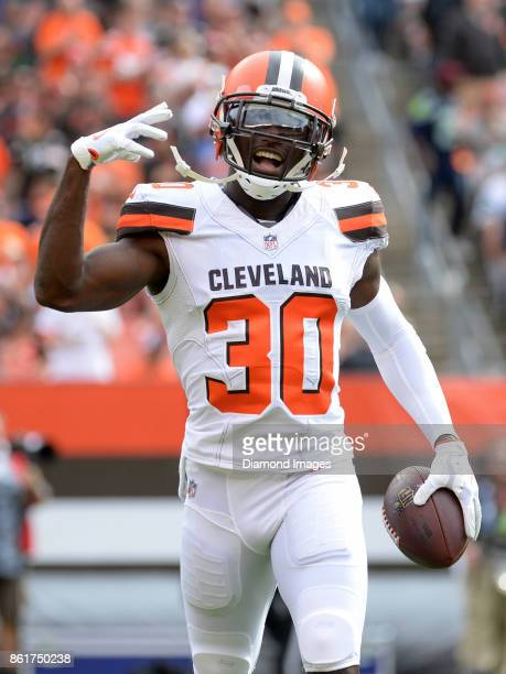 Cornerback Jason McCourty of the Cleveland Browns celebrates an interception in the second quarter of a game on October 8 2017 against the New York...