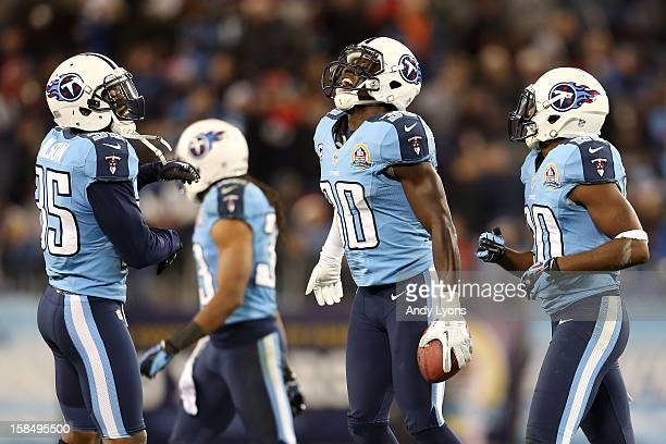 Cornerback Jason McCourty of the Tennessee Titans celebrates after an interception against quarterback Mark Sanchez of the New York Jets at LP Field...
