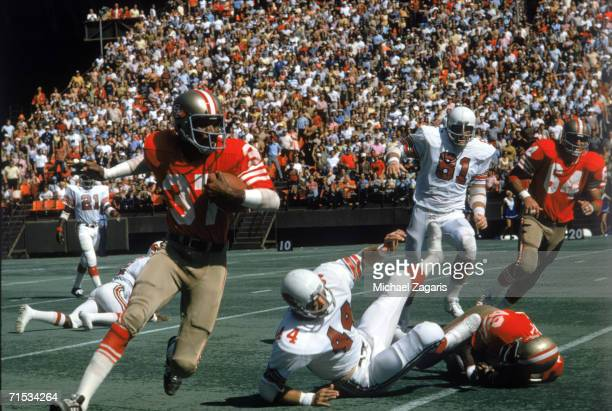 Cornerback Jimmy Johnson of the San Francisco 49ers returns an interception against the St Louis Cardinals at Candlestick Park on October 6 1974 in...