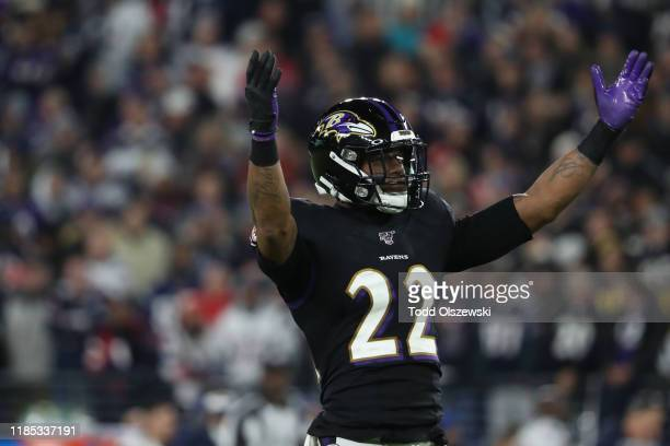Cornerback Jimmy Smith of the Baltimore Ravens reacts against the New England Patriots during the second quarter at M&T Bank Stadium on November 3,...