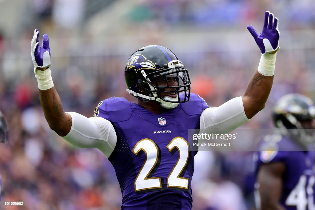 Cornerback Jimmy Smith #22 of the Baltimore Ravens reacts during the first quarter against the Chicago Bears at M&T Bank Stadium on October 15, 2017 in Baltimore, Maryland.