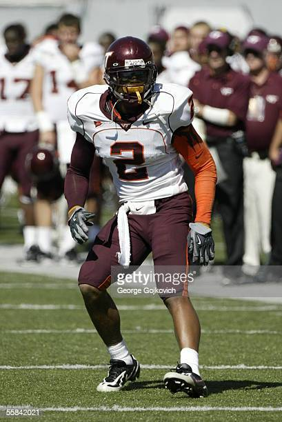 Cornerback Jimmy Williams of the Virginia Tech Hokies drops back in pass coverage against the West Virginia University Mountaineers at Milan Puskar...