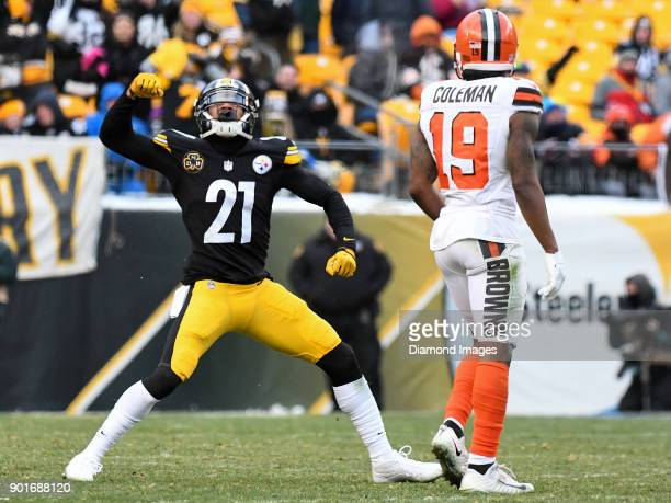 Cornerback Joe Haden of the Pittsburgh Steelers celebrates an incomplete pass in the fourth quarter of a game on December 31 2017 against the...