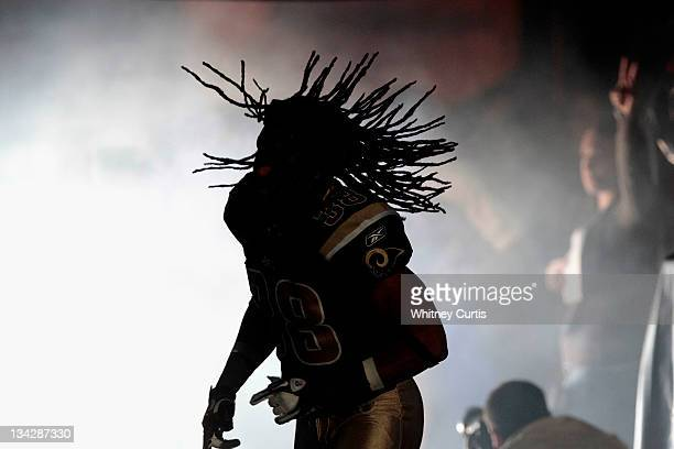 Cornerback Josh Gordy of the St Louis Rams takes the field before the game against the Arizona Cardinals on November 27 2011 at the Edward Jones Dome...