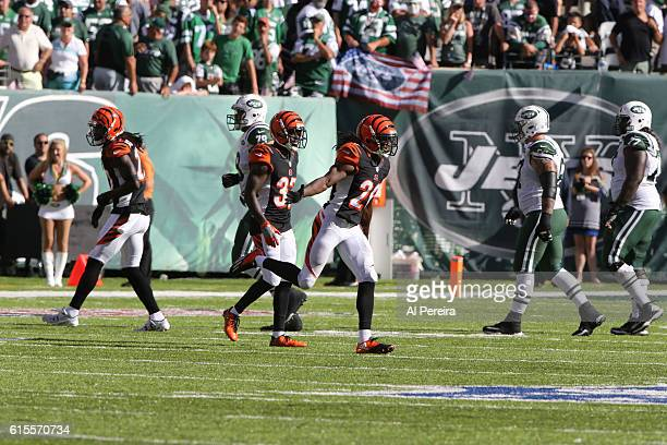 Cornerback Josh Shaw of the Cincinnati Bengals has an Interception against the New York Jets on September 11 2016 at MetLife Stadium in East...