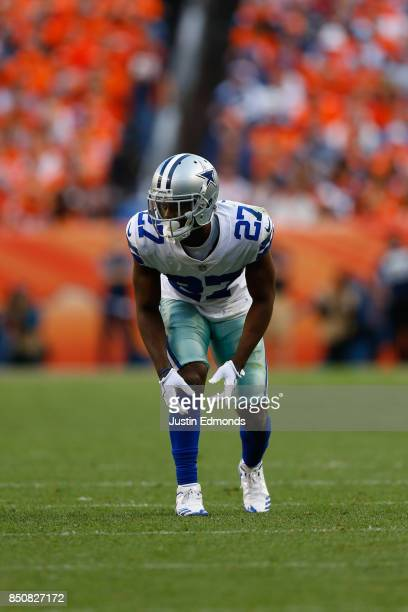 Cornerback Jourdan Lewis of the Dallas Cowboys lines up against the Denver Broncos at Sports Authority Field at Mile High on September 17 2017 in...