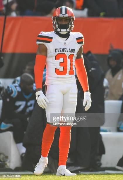 Cornerback Juston Burris of the Cleveland Browns on the field in the second quarter a game against the Carolina Panthers on December 9 2018 at...
