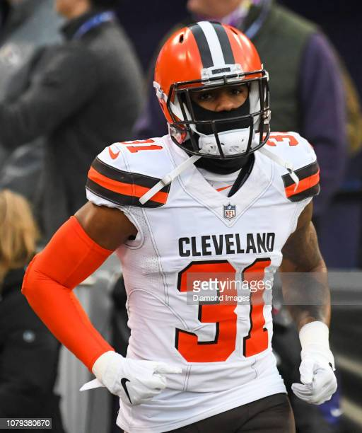Cornerback Juston Burris of the Cleveland Browns runs onto the field prior to a game against the Baltimore Ravens on December 30 2018 at MT Bank...