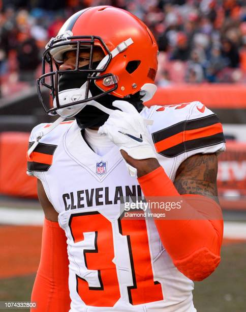 Cornerback Juston Burris of the Cleveland Browns walks onto the field at halftime of a game against the Carolina Panthers on December 9 2018 at...