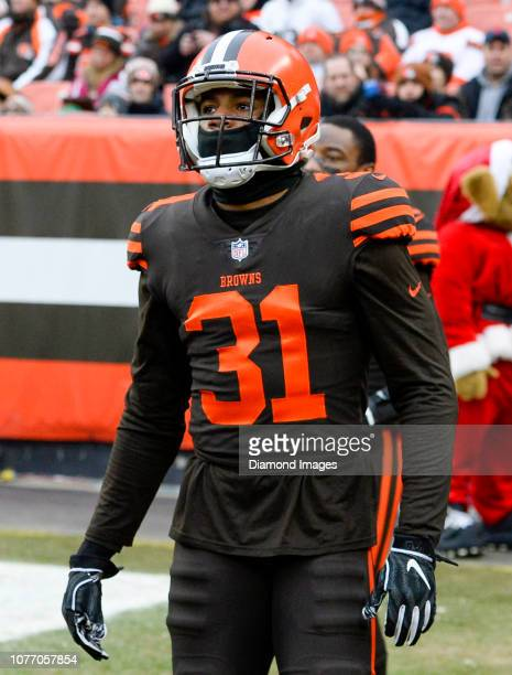 Cornerback Juston Burris of the Cleveland Browns walks onto the field at halftime of a game against the Cincinnati Bengals on December 23 2018 at...