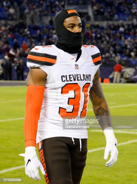 Cornerback Juston Burris of the Cleveland Browns walks onto the field at halftime of a game against the Baltimore Ravens on December 30 2018 at MT...