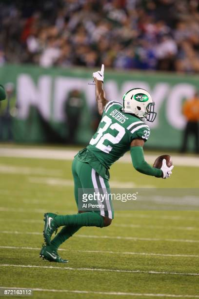 Cornerback Juston Burris of the New York Jets celebrates a fumble recovery in action against the Buffalo Bills at MetLife Stadium on November 2 2017...