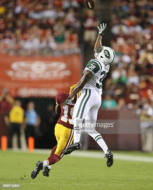Cornerback Juston Burris of the New York Jets deflects a pass against the Washington Redskins at FedExField on August 19 2016 in Landover Maryland
