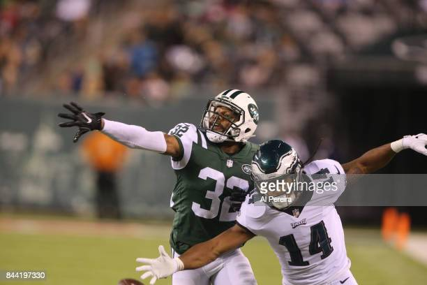 Cornerback Juston Burris of the New York Jets in action against the Philadelphia Eagles during their preseason game at MetLife Stadium on August 31...