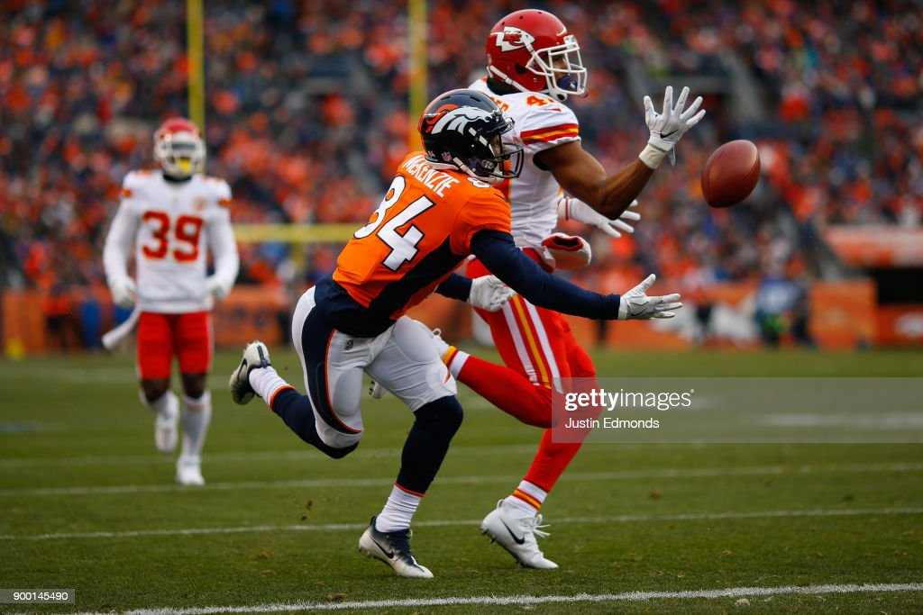 Cornerback Keith Reaser #40 of the Kansas City Chiefs defends a pass intended for wide receiver Isaiah McKenzie #84 of the Denver Broncos during the first quarter at Sports Authority Field at Mile High on December 31, 2017 in Denver, Colorado.