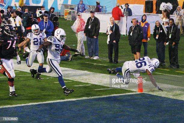 Cornerback Kelvin Hayden of the Indianapolis Colts crosses the goaline after returning an interception for a 56yard touchdown against the Chicago...