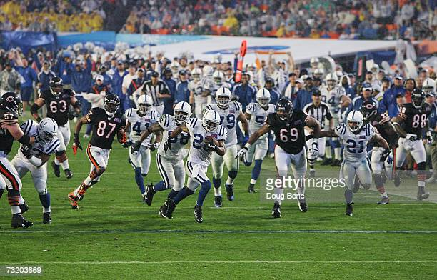 Cornerback Kelvin Hayden of the Indianapolis Colts returns an interception for a 56yard touchdown against the Chicago Bears during the fourth quarter...