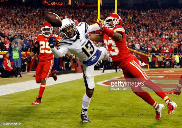 Cornerback Kendall Fuller of the Kansas City Chiefs breaks up a pass intended for wide receiver Keenan Allen of the Los Angeles Chargers during the...