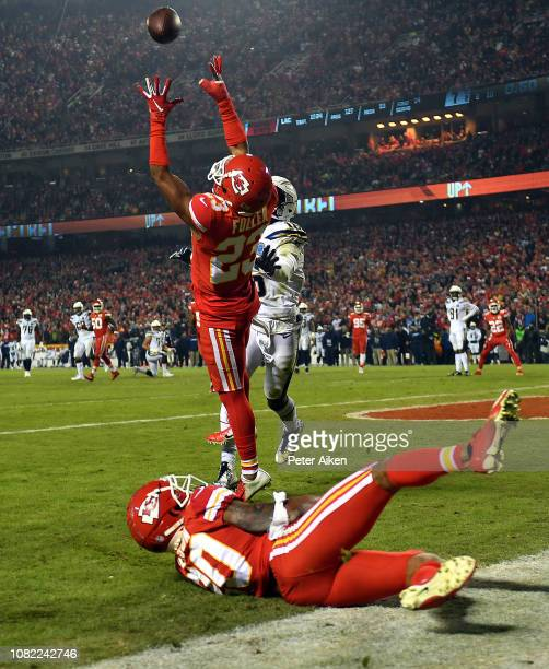 Cornerback Kendall Fuller of the Kansas City Chiefs intercepts a pass in the endzone intended for wide receiver Tyrell Williams of the Los Angeles...