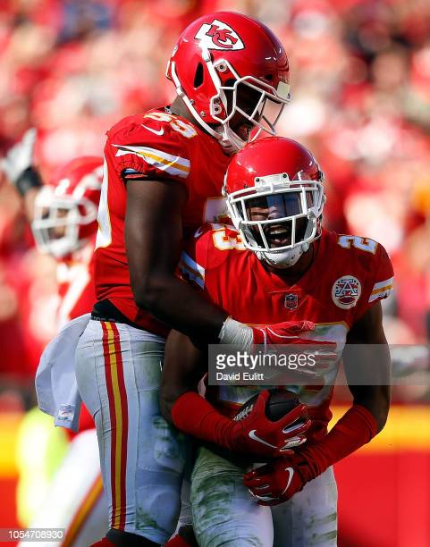 Cornerback Kendall Fuller of the Kansas City Chiefs is congratulated by linebacker Reggie Ragland after intercepting a pass during the game against...
