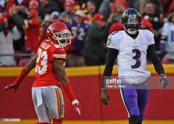 Cornerback Kendall Fuller of the Kansas City Chiefs looks back at quarterback Robert Griffin III of the Baltimore Ravens after knocking down...