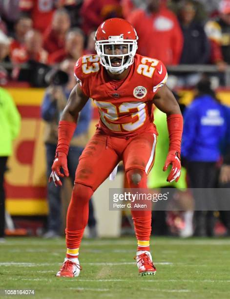 Cornerback Kendall Fuller of the Kansas City Chiefs of the Kansas City Chiefs gets set on defense against the Cincinnati Bengals during the second...