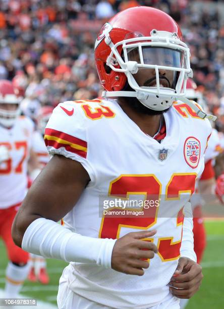 Cornerback Kendall Fuller of the Kansas City Chiefs runs onto the field prior to a game against the Cleveland Browns on November 4 2018 at...