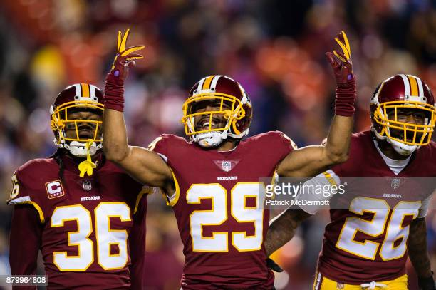 Cornerback Kendall Fuller of the Washington Redskins celebrates wtih free safety DJ Swearinger and cornerback Bashaud Breeland after intercepting a...