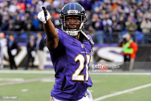 Cornerback Lardarius Webb of the Baltimore Ravens celebrates an interception in the fourth quarter of a game against the Cleveland Browns at M&T Bank...